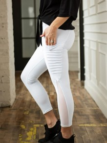 White Patchwork Grenadine High Waisted Sports Yoga Long Legging