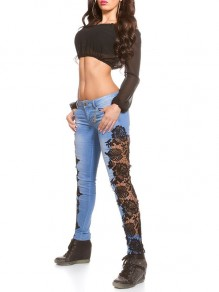 Blue Lace Patchwork Casual Going out High Waist Long Jeans