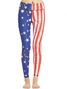White American Flag Print Independence Day Sports Yoga Workout Long Legging