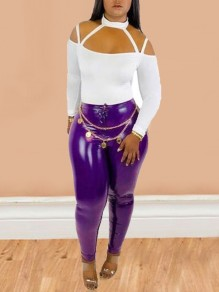 Purple Buttons High Waisted Latex Vinly Clubwear Party Long Legging