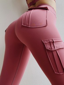Pink Pockets High Waisted Sports Yoga Cargo Long Legging