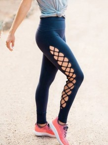 Black Patchwork Drawstring Lace Up Skinny High Waisted Fashion Yoga Sports Workout Leggings