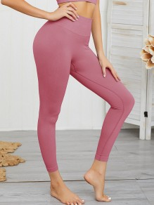 Pink Elastic Waist High Waisted Sports Yoga Workout Long Legging