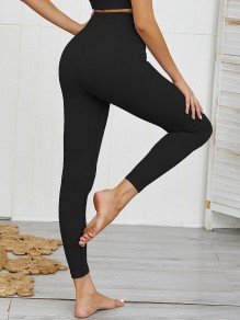 Black Elastic Waist High Waisted Sports Yoga Workout Long Legging