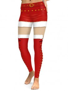 Red-White Patchwork Lace-up Pattern High Waisted Yoga Christmas Sports Santa Workout Legging