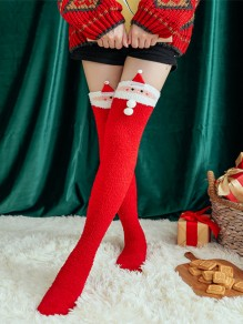 Red Figure Pattern Christmas Santa Claus Fluffy Cute Legging