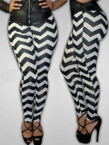 Black-White Gingham Print High Waisted Slim Long Legging