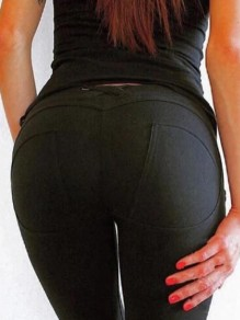 Black Pockets Buttons High Waisted Fashion Long Legging