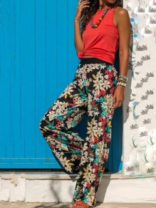 Beige Floral Print High Waisted Long Straight Pants