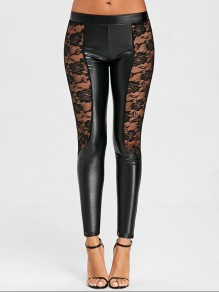 Black Patchwork Lace PU Leather Latex Rubber Bodycon High Waisted Long Pant