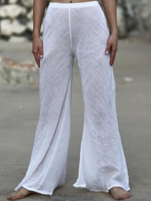White Draped High Waisted Extreme Flare Bell Bottom Cotton Casual Long Pants