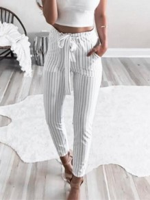 White Striped Pockets Belt Drawstring Waist Nine's Pants