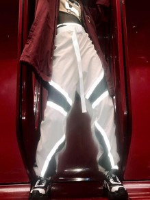 White Patchwork Draped High Waisted Reflective Casual Music Festival Hip Hop Cargo Long Pants