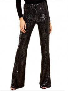 Black Patchwork Sequin Party High Waisted Bell Bottomed Flares Long Pant