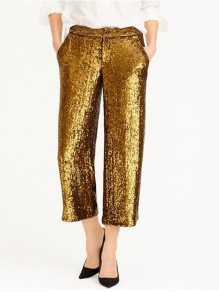Golden Sequin Buttons Pockets High Waisted Sparkly Banquet Party Wide Leg Seven's Pants