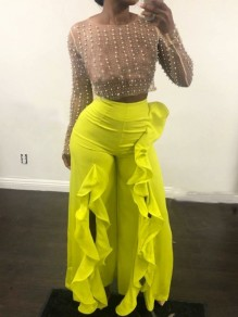 Yellow Cascading Ruffle Front Slit High Waisted Party Wide Leg Palazzo Long Pant