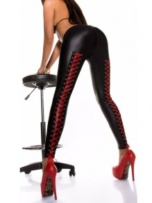Black Lace-up Bodycon High Waisted PU Leather Latex Long Pant
