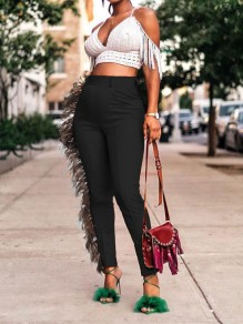 Black Tassel Pockets Bodycon High Waisted Party Long Pant