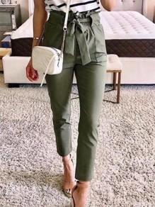 Army Green Patchwork Belt Drawstring Waist Fashion Long Pants