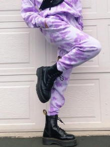 Purple-White Patchwork Tie Dye Pockets High Waisted Haren Cargo Long Pants