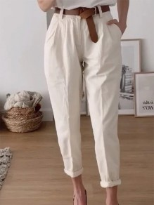 Beige Patchwork Pockets Ruffle Buttons Loose Fashion Long Pants