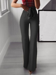 Black Patchwork Sashes Bow Fashion Long Wide Leg Palazzo Pants