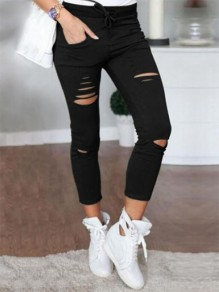 Black Patchwork Pockets Ripped Destroyed Slim Fashion Long Pants