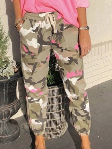 Green Camouflage Drawstring High Waisted Loose Boyfriend Long Pants