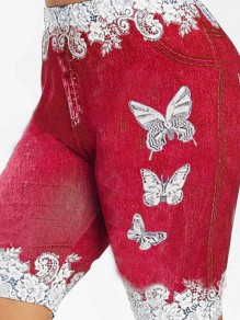 Red Butterfly Print Pockets Bodycon Casual Sports High Waisted Short Pant