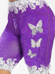 Purple Butterfly Print Pockets Bodycon Casual Sports High Waisted Short Pant