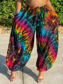 Green Tie Dyeing Pleated Harem Casual Bohemian High Waisted Long Pant