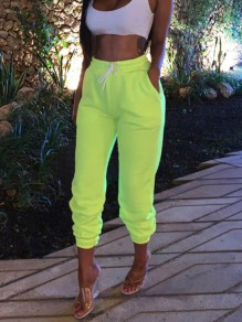 Neon Green Drawstring Pockets Harem Casual Sports Jogger Tracksuit Long Sweat Pants