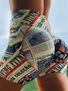 Yellow Newspaper Print Bodycon Casual Sports High Waisted Short Pant