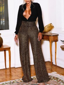 Golden Bright Wire Draped High Waisted Glitter Sparkly Wide Leg Palazzo Long Pants