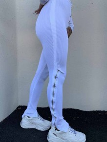 White Zipper Stacked Casual Sports High Waisted Bell Bottomed Flares Long Patn