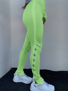 Green Zipper Stacked Casual Sports High Waisted Bell Bottomed Flares Long Patn