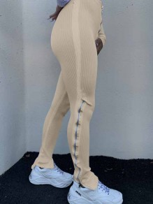 Apricot Zipper Stacked Casual Sports High Waisted Bell Bottomed Flares Long Patn