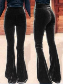 Black Casual High Waisted Bell Bottomed Flares Long Pant