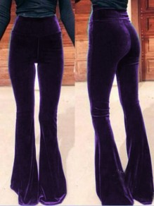 Purple Casual High Waisted Bell Bottomed Flares Long Pant