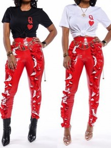 Red Cascading Ruffle PU Leather Latex Rubber High Waisted Party Long Pant
