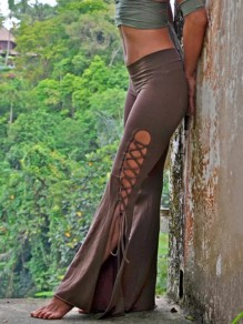 Green Lace-up Side Slits Pagan High Waisted Bell Bottomed Flares Pajama Lounge Pants