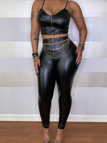 Black Zipper Bodycon PU Leather Latex Rubber Casual Long Pant