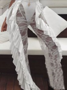 White Patchwork Lace Ruffle Sheer NYE Party Wide Leg Long Pant