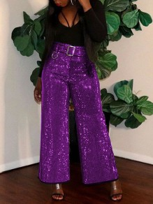 Purple Patchwork Sequin Sparkly Glitter High Waisted Wide Leg Palazzo Casual Birthday Party Long Pant