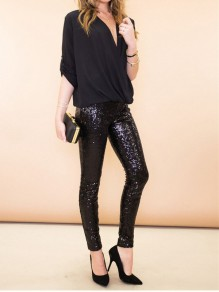 Black Patchwork Sequin Bodycon Sparkly Glitter Birthday Party Long Pant
