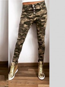 Green Camouflage Single Breasted Pockets Bodycon Comfy Going out Pant