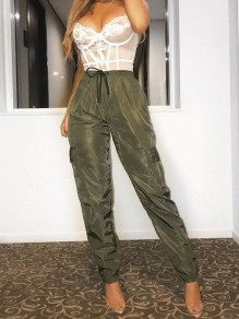 Army Green Pockets Drawstring High Waisted Oversized Long Pants