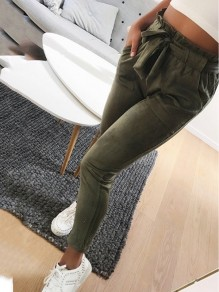 Green Pattern Pockets Belt Bodycon Comfy Going out Pant