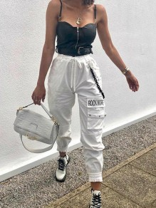 White Monogram Pockets Drawstring Chain High Waisted Long Harem Pants