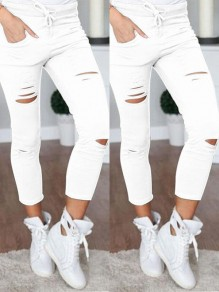 White Cut Out Drawstring Ripped Destroyed Bodycon Going out Pants